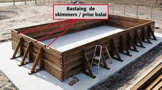 Comment installer une piscine Bois rectangulaire Hors-sol 5 X 10 m - PIV... Diy Swimming Pool, Diy Pool, Intex Above Ground Pools, In Ground Pools, Wooden Pool, Wooden Diy, Bunk Bed With Slide, Piscine Diy, Diy Heater