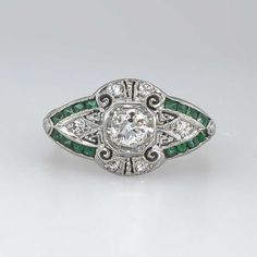 Beautiful Rare 1930's Old European Cut SOLD: 10/5/14 #Diamond & Emerald #Engagement Ring 18k | Antique & Estate Jewelry | #JewelryFinds Price: $1950.00