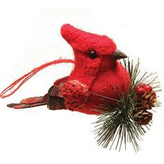 """Northlight Burlap and Plaid Cardinal on Pine Sprig Christmas Ornament Size: 6"""" H x 5"""" W x 6.25"""" D"""
