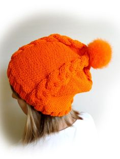 Hand Knitted Orange Slouchy Hat. Real Fur Pom Pom. #Handmade