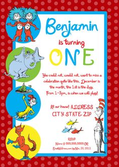 Dr Seuss First Birthday Party Invitation by SDPhotographyDesigns, $20.00
