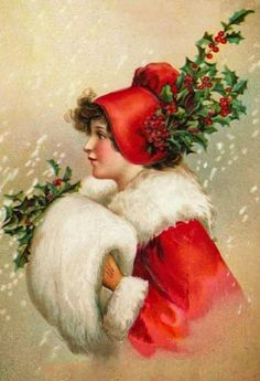 ◆ Bumble Button...  profile of young girl wearing red coat and hat, as well as a white fur muff