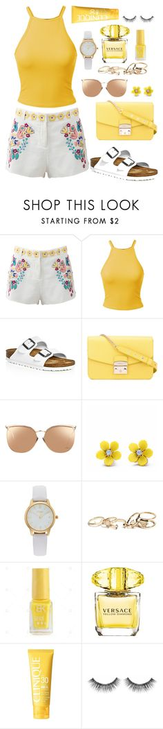"""Yellow"" by bubble-tea-dan ❤ liked on Polyvore featuring Antik Batik, Birkenstock, Furla, Linda Farrow, WithChic, Vivani, GUESS, Versace, Clinique and Sephora Collection"