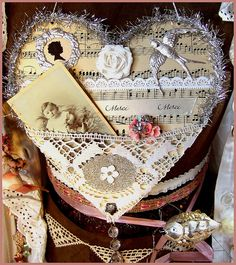 Vintage inspired Tinsel Heart Silver Wall Hanger by Boxwood Cottage  http://www.carolsgarden.blogspot.com/