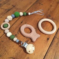 Sensory Teething Pacifier/Toy Clip, Holder, On-Trend, Natural Wood, Silicone and Crochet Beads, Army Camouflage Colours by AeviternalSensory on Etsy