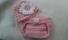 Photo Prop Baby Girl Hat and Diaper Cover Pink