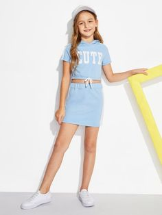 SheIn offers Girls Letter Print Hoodie & Skirt Set & more to fit your fashionable needs. - August 11 2019 at Girls In Mini Skirts, Dresses Kids Girl, Kids Outfits Girls, Cute Girl Outfits, Girls Fashion Clothes, Tween Fashion, Cute Outfits For Kids, Cute Summer Outfits, Teen Fashion Outfits