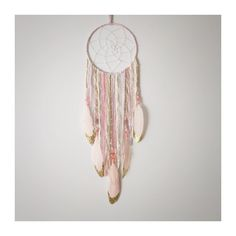 Dream Catcher -Dreamcatcher - Boho Chic Decor - Pink and Gold - Nursery Decor - Baby Shower Gift - Wall Decor -Bohemian by InspiredSoulShop on Etsy