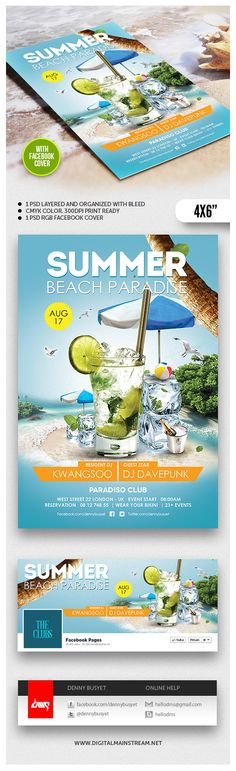 Summer Beach Paradise Flyer Template by Denny Budi Susetyo, via Behance