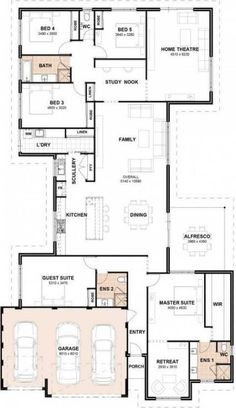 Dream house plans: New craft room floor plan layout offices ideas 2020 5 Bedroom House Plans, Family House Plans, New House Plans, Dream House Plans, House Floor Plans, House Layout Plans, Floor Plan Layout, House Layouts, Office Floor Plan