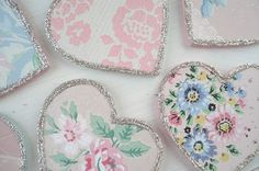 vintage wallpaper hearts - could be used AS the tag or as an embellishment