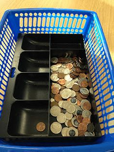 """Teaching Learners with Multiple Special Needs: A Few Workboxes from: http://teachinglearnerswithmultipleneeds.blogspot.com I like that the teachers are using real coins. I never understood teaching students with plastic money - how are they supposed to understand that what we are working with in the classroom is """"the same"""" as the metal coins they might find on a parent's night stand."""