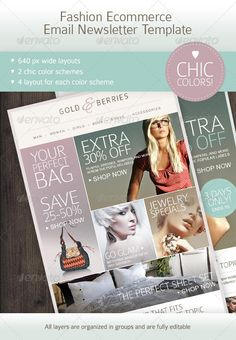 Buy Fashion Ecommerce Email Newsletter Template by mariarti on GraphicRiver. This email newsletter template perfect for almost any ecommerce project, especially fashion industry one, presented i. Email Marketing Design, Email Marketing Campaign, Email Marketing Services, Email Design, Web Design, Green Marketing, Graphic Design, Newsletter Design Templates, Email Templates