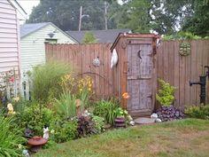 My Outhouse (pics) - Garden Junk Forum - GardenWeb Garden Junk, Garden Gates, Garden Tools, Garden Sheds, Garden Art, Garden Crafts, Outdoor Spaces, Outdoor Living, Outdoor Decor
