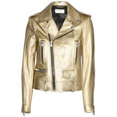 Saint Laurent Metallic-Leather Biker Jacket (9.835 BRL) ❤ liked on Polyvore featuring outerwear, jackets, coats, coats & jackets, tops, leather motorcycle jacket, leather biker jacket, metallic moto jacket, metallic biker jacket and brown jacket