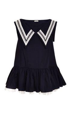 Navy blue dress with navy collar by NATASHA ZINKO for Preorder on Moda Operandi
