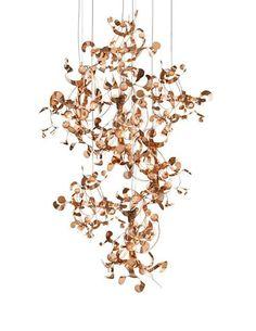 Kelp Pendant by Brand Van Egmond Copper Pendant Lights, Pendant Chandelier, Chandelier Lighting, Chandeliers, Suspended Lighting, Interior Lighting, Modern Lighting, Lighting Design, Luminaire Design
