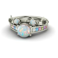 Disney inspired Round Opal bridal set engagement by Diamondere