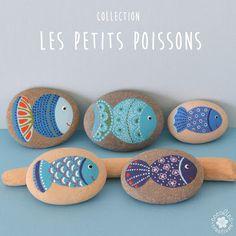 cocolico-creations: Galets peints : collection de poissons bleus