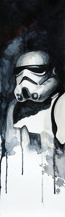 Stormtrooper Water Color Painting by David Kraig