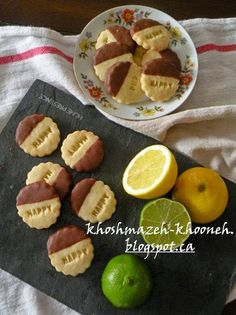 chocolate dipped lemon-lime shortbread cookies خوشمزه خونه: بیسکویت لیمویی شکلاتی