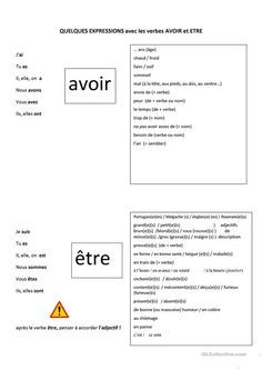 Risultati immagini per expressions avec le verbe etre French Verbs, French Grammar, French Phrases, French Language Lessons, French Language Learning, French Lessons, French Flashcards, French Worksheets, Learn French Fast