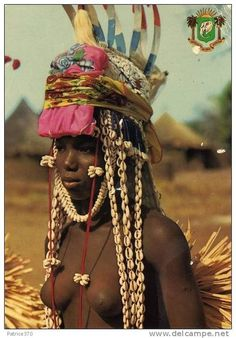 Africa | Young Senufo Dancer in Boundiali, Cote d'Ivoire | Photographer and date unknown; scanned postcard image