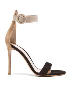 Image 1 of Gianvito Rossi Tri Color Suede Sandals in Bisque, Black & Ouzo
