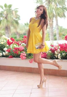 I love this dress - so cute, flirty, and pretty with a deeper yellow and beautiful neckline/sheer.