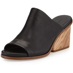 Vince Tilda Wooden-Heel Leather Mule (530 CAD) ❤ liked on Polyvore featuring shoes, black, black leather mules, black mules, leather sole shoes, vince shoes and open toe mules
