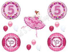 BALLERINA 5TH Fifth Birthday Girl Balloons Decoration Supplies Party pink Dance #Anagram #BirthdayChild