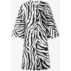 Adam Lippes  zebra print cocoon coat ($1,625) ❤ liked on Polyvore featuring outerwear, coats, white coat, zebra coat, mid length coat, adam and adam coates