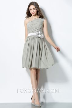 asymmetrical one shoulder pleated bodice short bridesmaid dress with flower ribbon