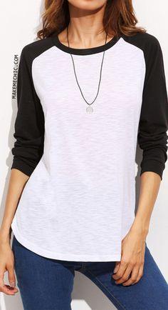 Color Block Round Neck Raglan Long Sleeve T-shirt