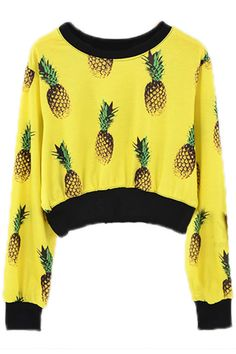ROMWE | All-over Pineapple Print Yellow Pullover, The Latest Street Fashion $31.99