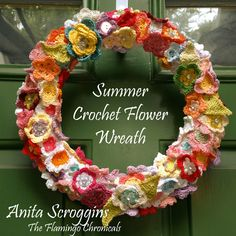 This crochet flower wreath is perfect for creating a unique decoration that won't wilt! Learn how to make your own DIY summer door wreath with Smoothfoam Crochet Wreath, Diy Crochet, Crochet Flowers, Diy Wreath, Burlap Wreath, Holiday Crochet, Foam Crafts, Summer Wreath, Flower Making