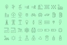 Green Sustainability Icons on Behance