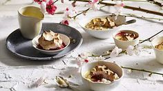 Italian meringue rhubarb soufflé with black pepper custard recipe : SBS Food