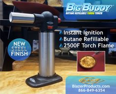The New Big Buddy Turbo Torch: Black with a Stainless Steel tank. MSRP $40.00  This stylish black and steel butane refillable torch joins the currently available solid Black and White with a stainless steel tank Big Buddy turbo torches.   Want to carry The Blazer Products line? E-mail us today: info@blazerproducts.com today. Or call toll free 866-849-6354  #Butane #Torch #CookingTorch #CremeBrulee #DIY #Crafts #Hobby #Cigar #CigarTorch #BlazerTorch #CleanButane #Gift #Camping #Hunting…
