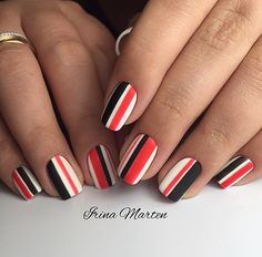 Bold nails, Luxurious nails, Nail art stripes, Party nails, Party nails ideas, Striped nails, Unusual nails, Vivid nails