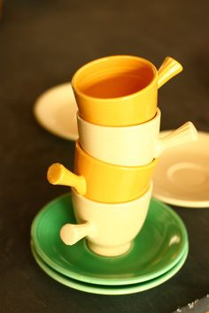 30 off sale vintage fiesta yellow cream and teal stick handled demitasse cup - Fiestaware Sale
