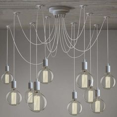 Gracefully White 10 Light Industrial Style Multi Light Pendant Swag Pendant Lighting