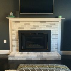 Textured Sandstone Fireplace Makeover