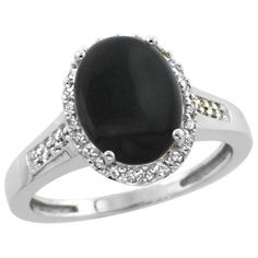 $115.58 USD, Sterling Silver Diamond Natural Black Onyx Ring by WorldJewels