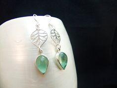 Apatite Gemstones Handmade Silver Drop Earrings by WelshHillsJewellery on Etsy