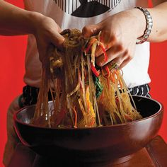 Chap Chae is a combination of slippery sweet potato noodles turned golden from the cooking juices and soy sauce, crunchy vegetables, and tender, juicy beef.