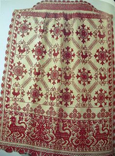 russian embroidery and lace, plate 108  Apron, red flax thread on canvas, 2nd half 19th c, Vologda province. jodigreen/flickr