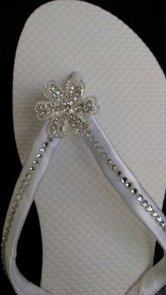 """Tahiti"" Bridal Flip Flops #White #Bling FlipFlops....afterwards"