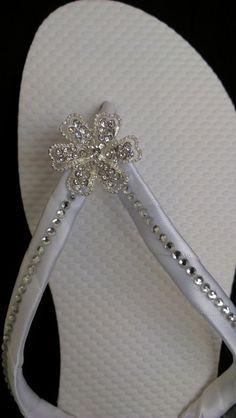 """Tahiti"" Bridal Flip Flops #White #Bling FlipFlops....afterwards"