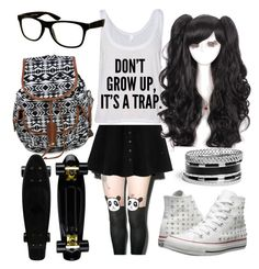 """""""Untitled #65"""" by jaybond on Polyvore featuring Leg Avenue, GUESS, Converse and Jeepers Peepers"""
